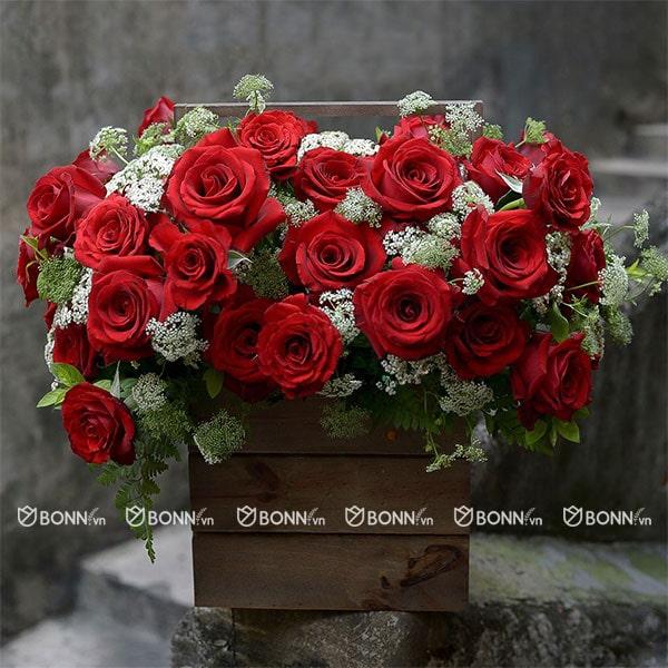 lẵng hoa đẹp tone đỏ
