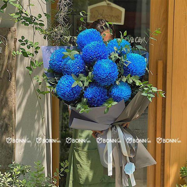 bo hoa cuc mau don xanh min