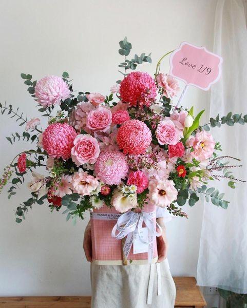 lang hoa cuc mau don tone hong