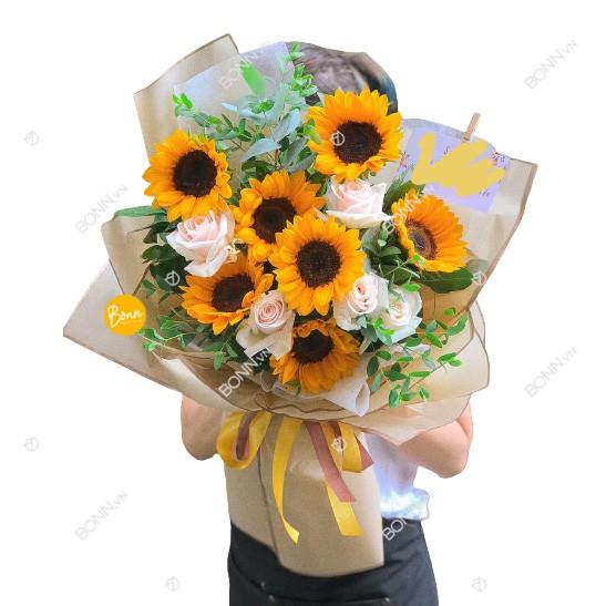 bo hoa huong duong va hoa hong